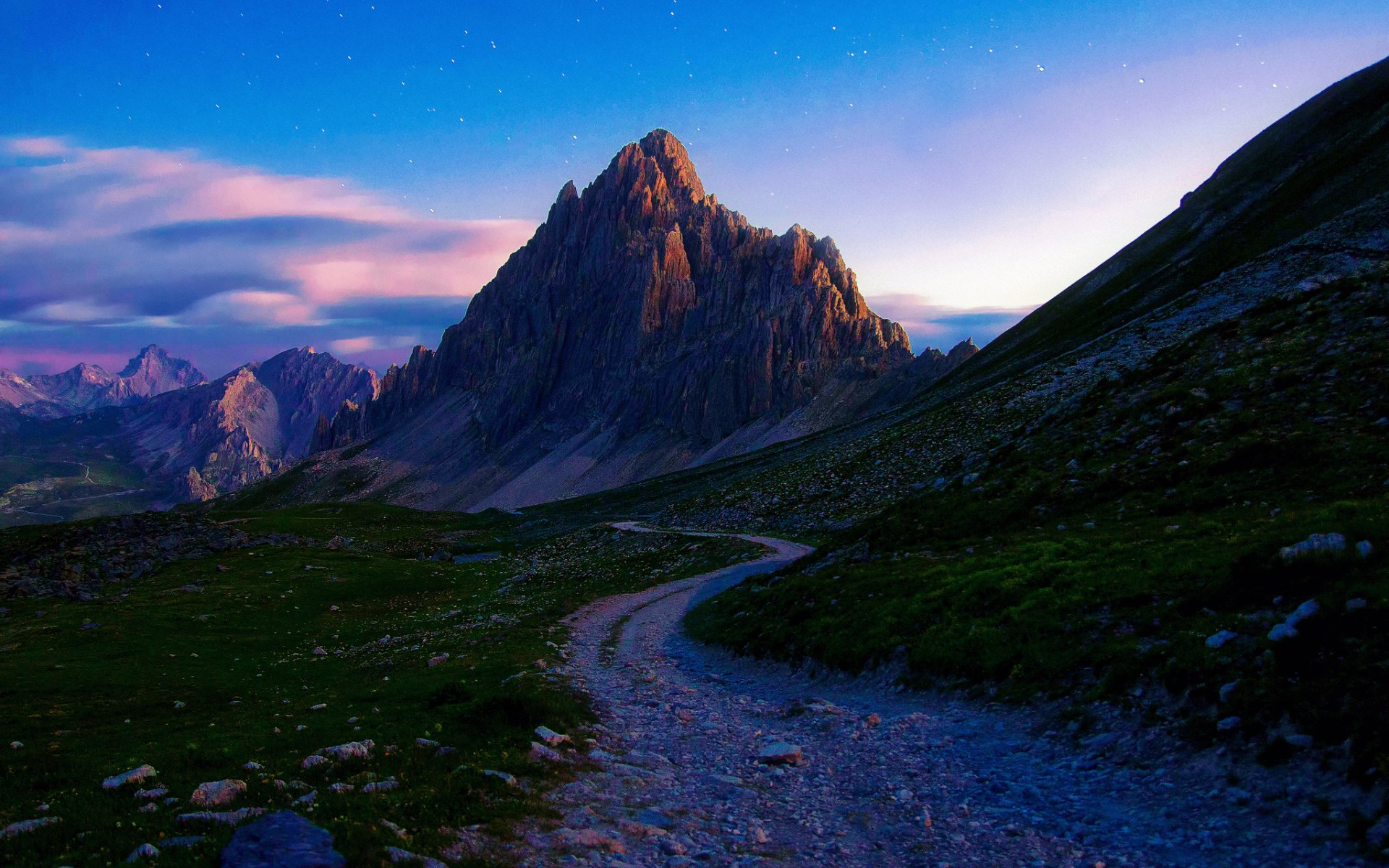 3d Purple Wallpaper For Tablet Mountains Path Stones Nature Wallpapers Mountains Path