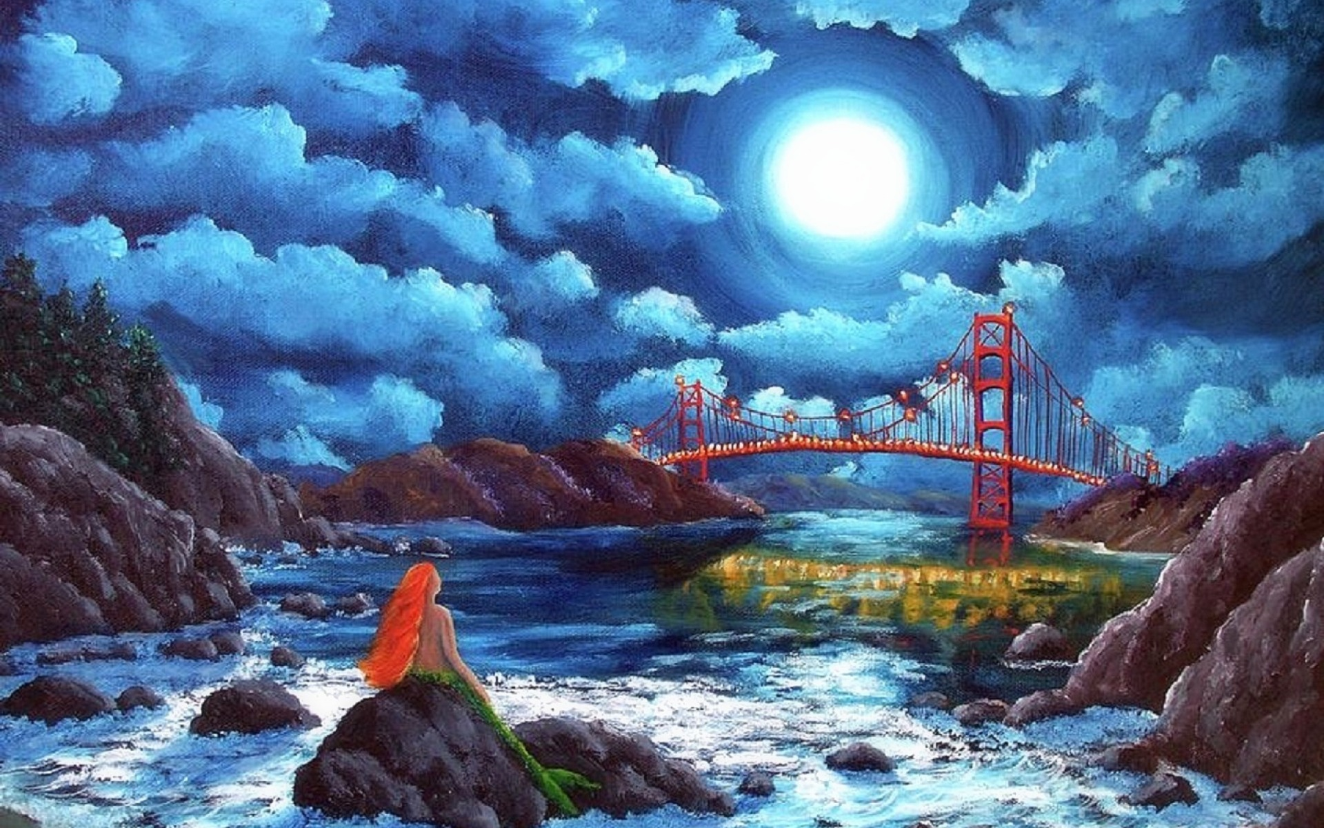 Fall Painting Wallpapers Puente Golden Gate De La Sirena Fondos De Pantalla