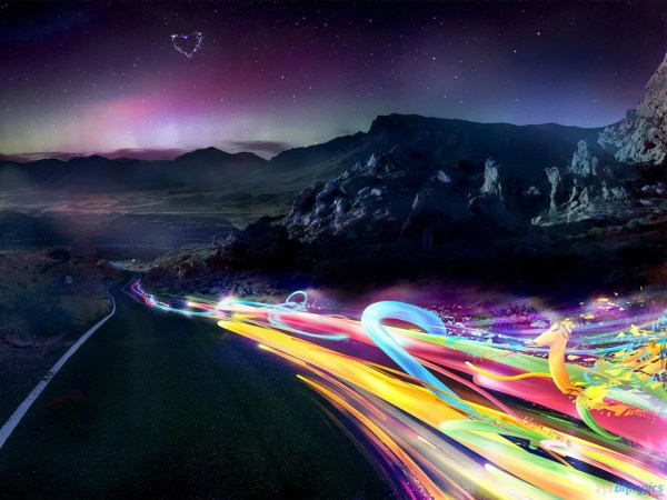 Road & Rainbow Lights Wallpapers