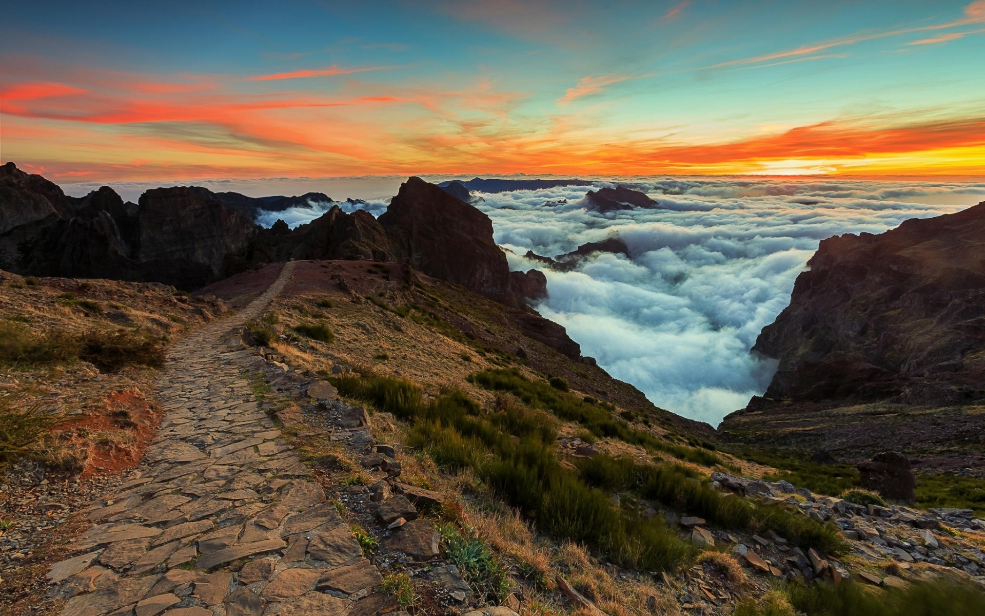 Animated Sunset Wallpaper Rocky Path Hills Clouds Sunset Wallpapers Rocky Path