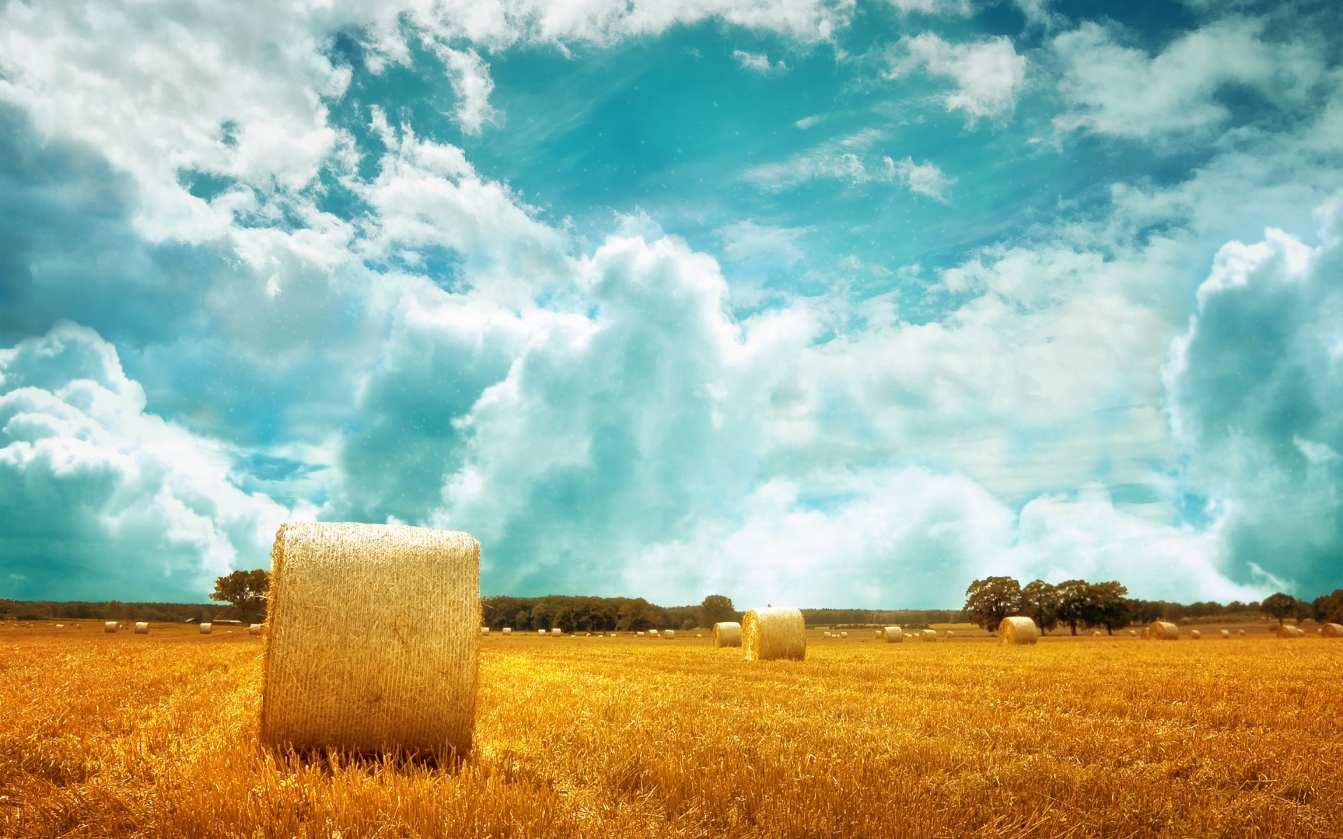 Nice Wallpaper For Iphone 5 Sky Clouds Hay Bales Amp Field Wallpapers Sky Clouds Hay