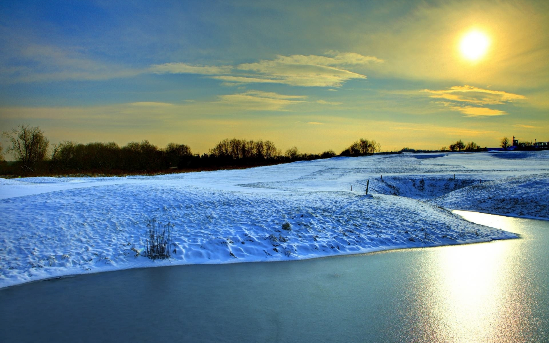 Ipad Animated Wallpaper Snowy Hills River Yellow Sunny Wallpapers Snowy Hills
