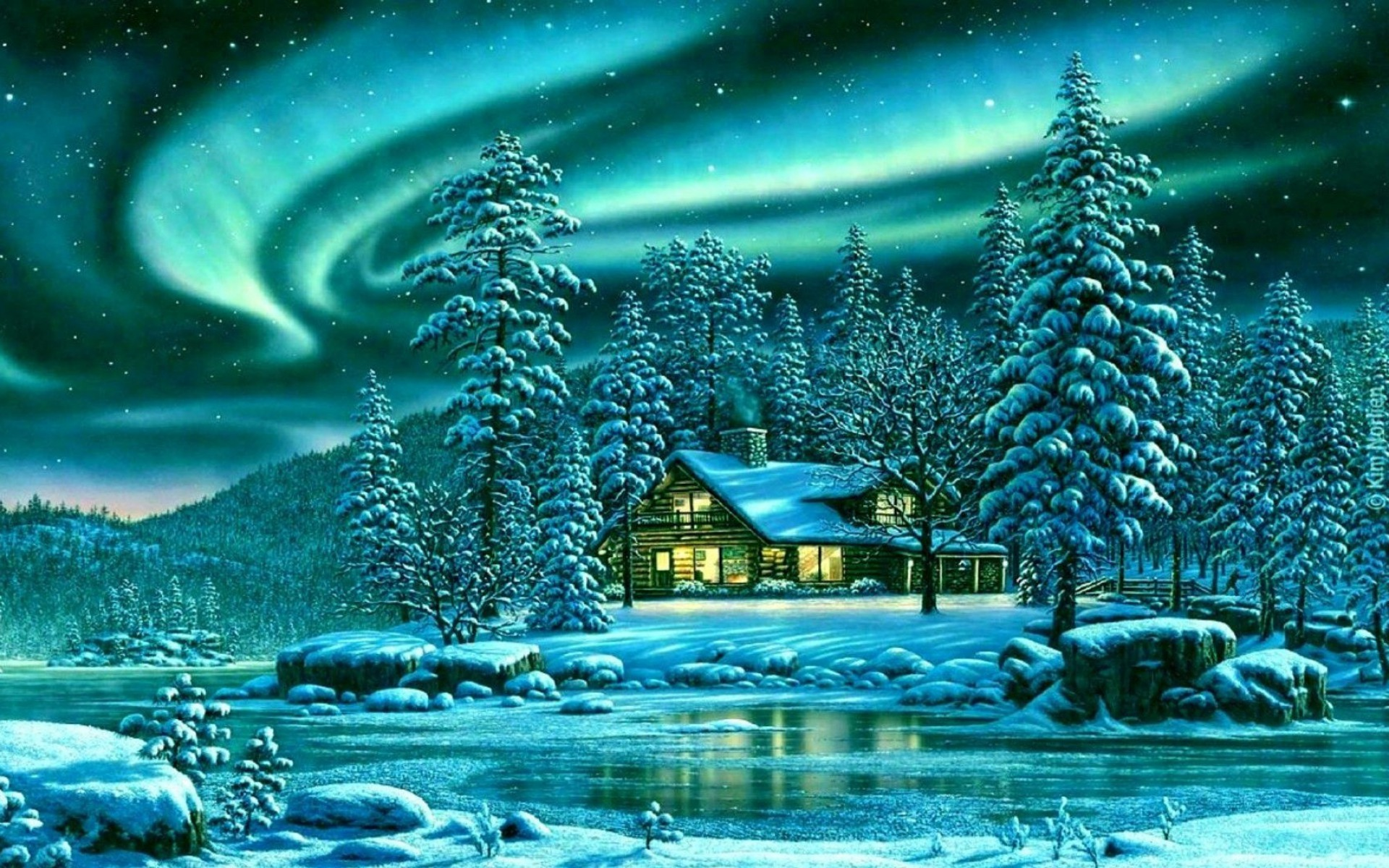 Animated Waterfall Wallpapers For Mobile Snowy Trees Cabin River Aurora Wallpapers Snowy Trees