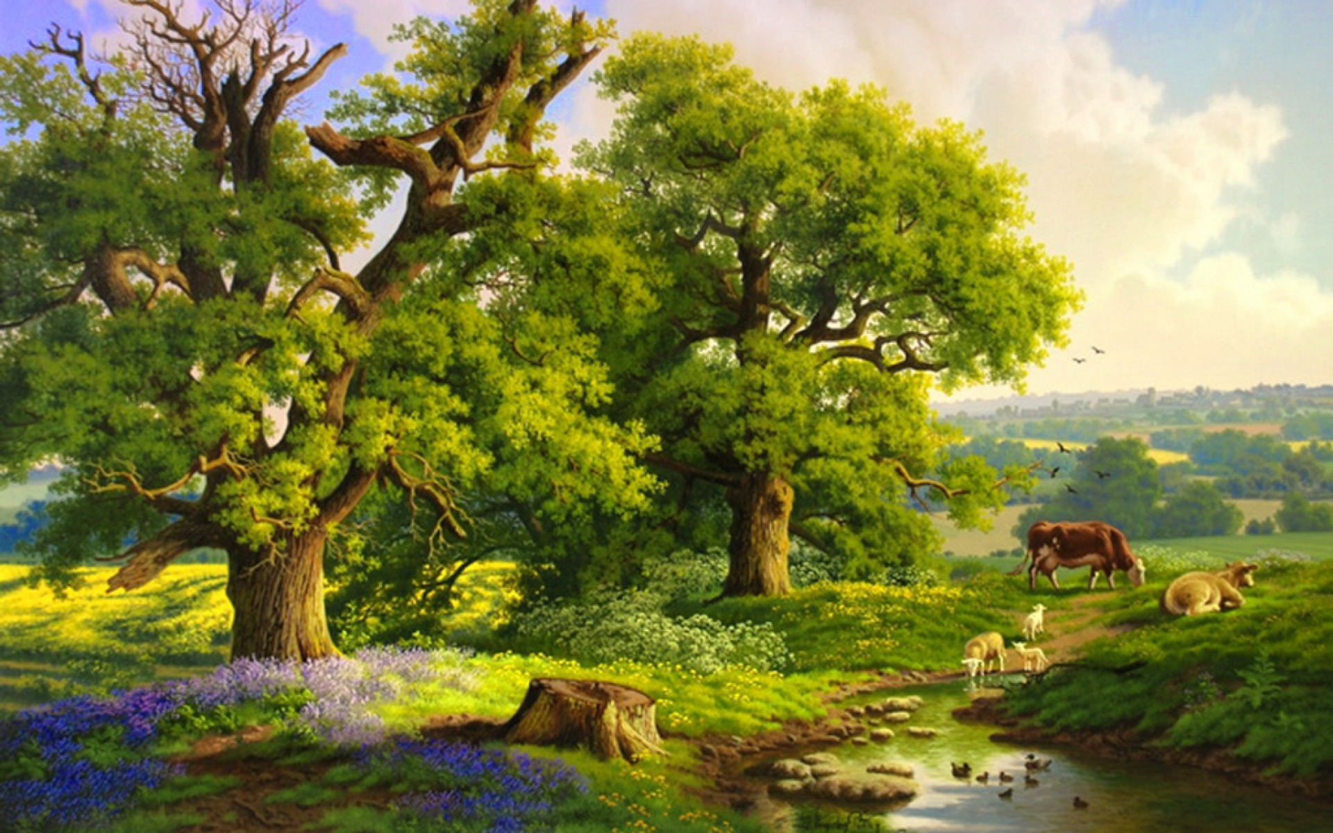 Facebook Wallpaper For Profile 3d Trees Creek Sheeps Cows Field Wallpapers Trees Creek