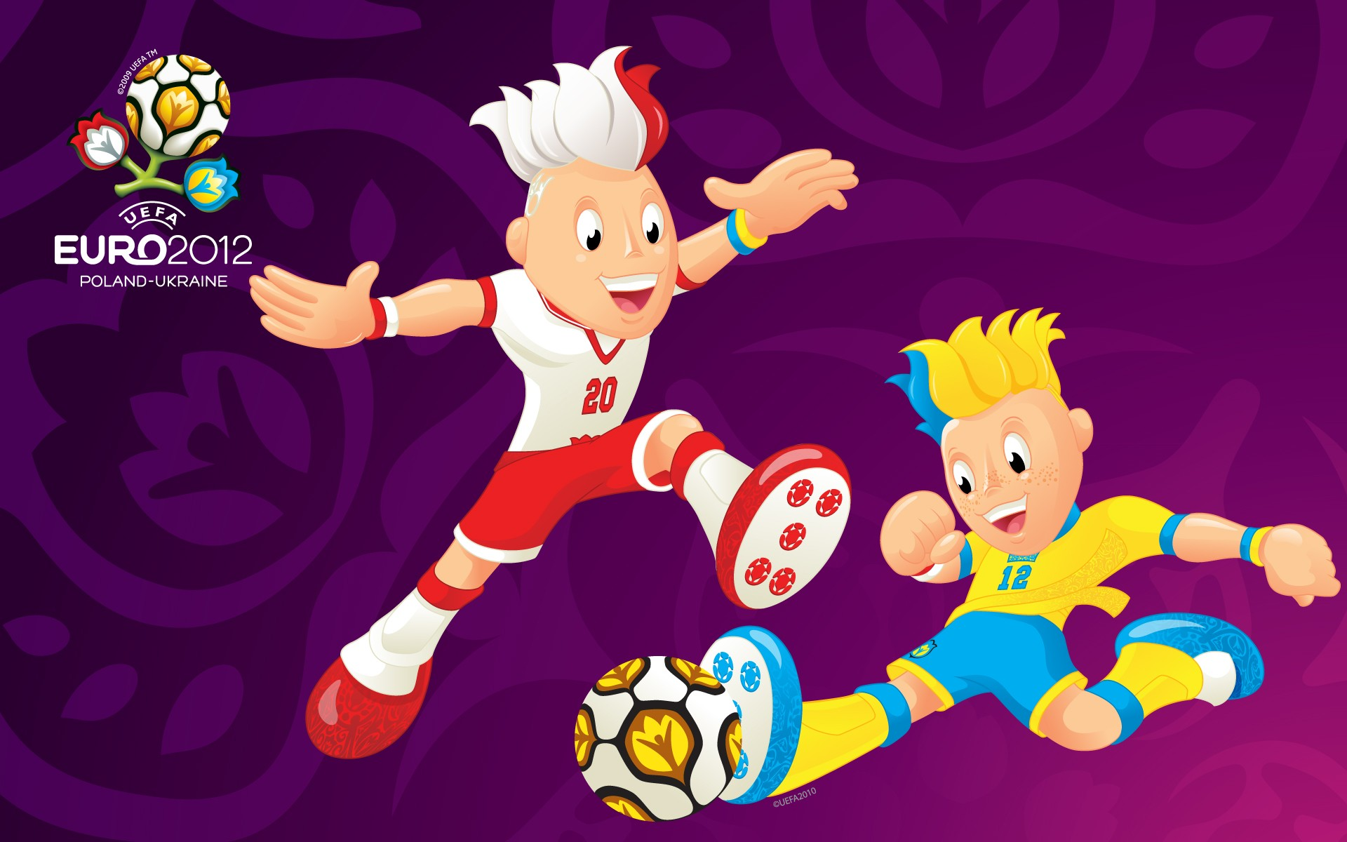 Iphone X Stock Wallpaper Live Uefa Euro 2012 Mascots Paying Game Purple Wallpapers