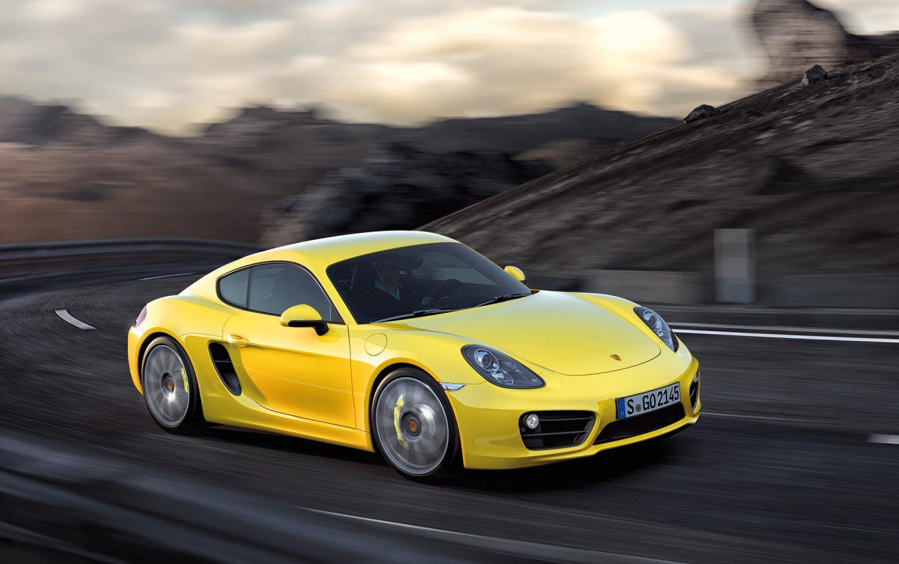 2013 Yellow Porsche Cayman Motion Side Angle Wallpapers 2013