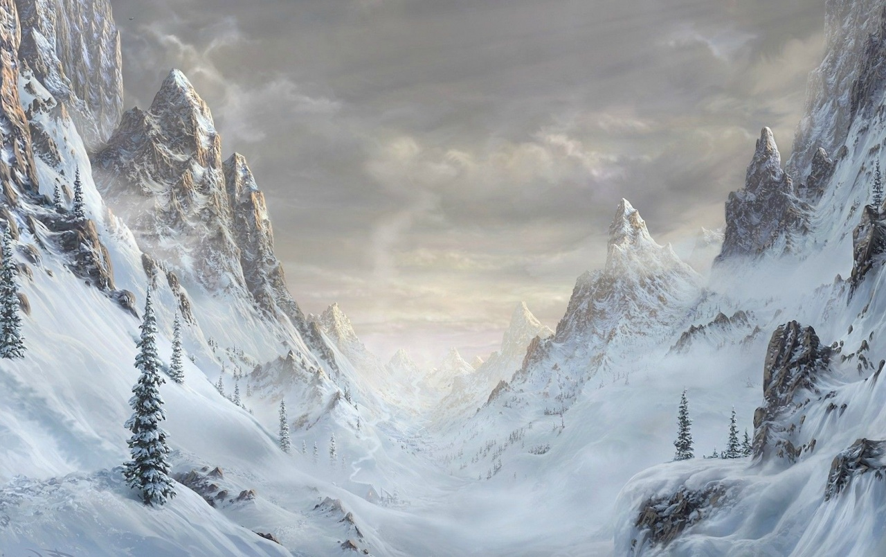 Falling Snow Wallpaper Iphone Mountains Valley Snowy Trees Wallpapers Mountains Valley