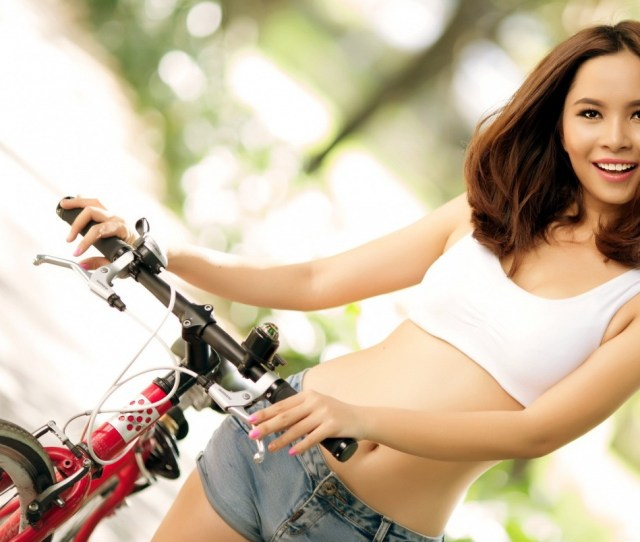Girl With Bicycle Wallpapers And Stock Photos