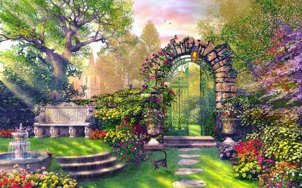 Enchanting Garden Wallpapers Stock