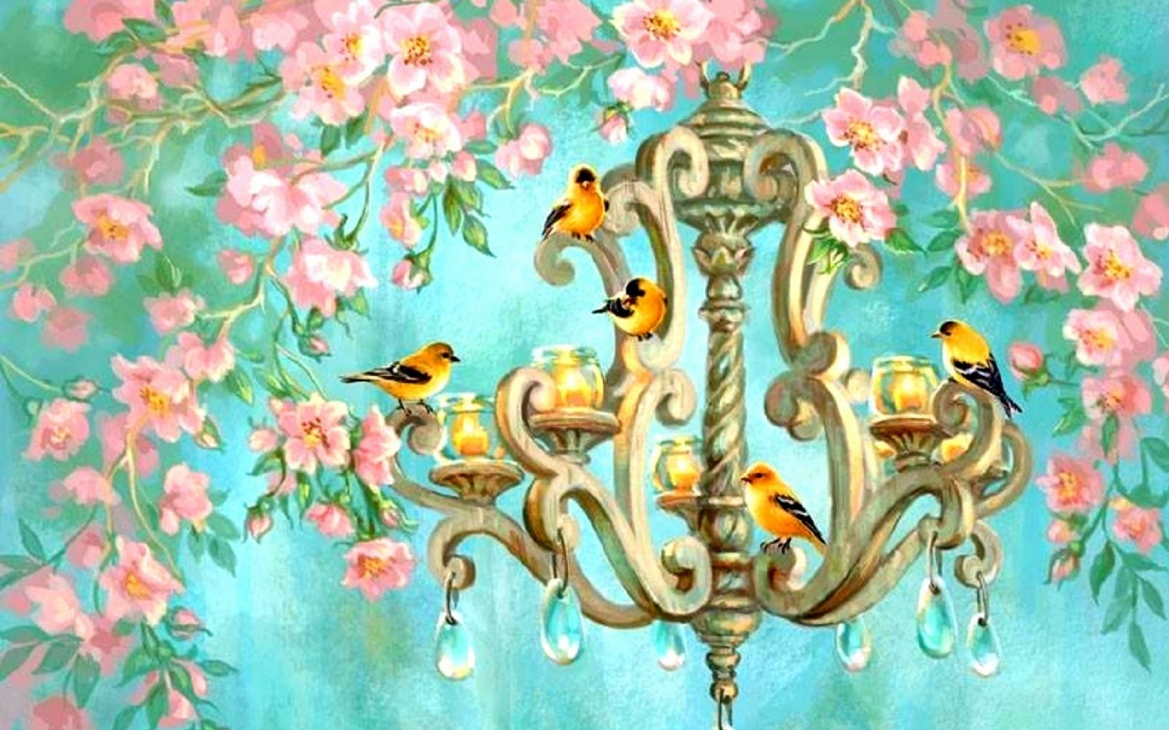 birds chandelier pink flowers