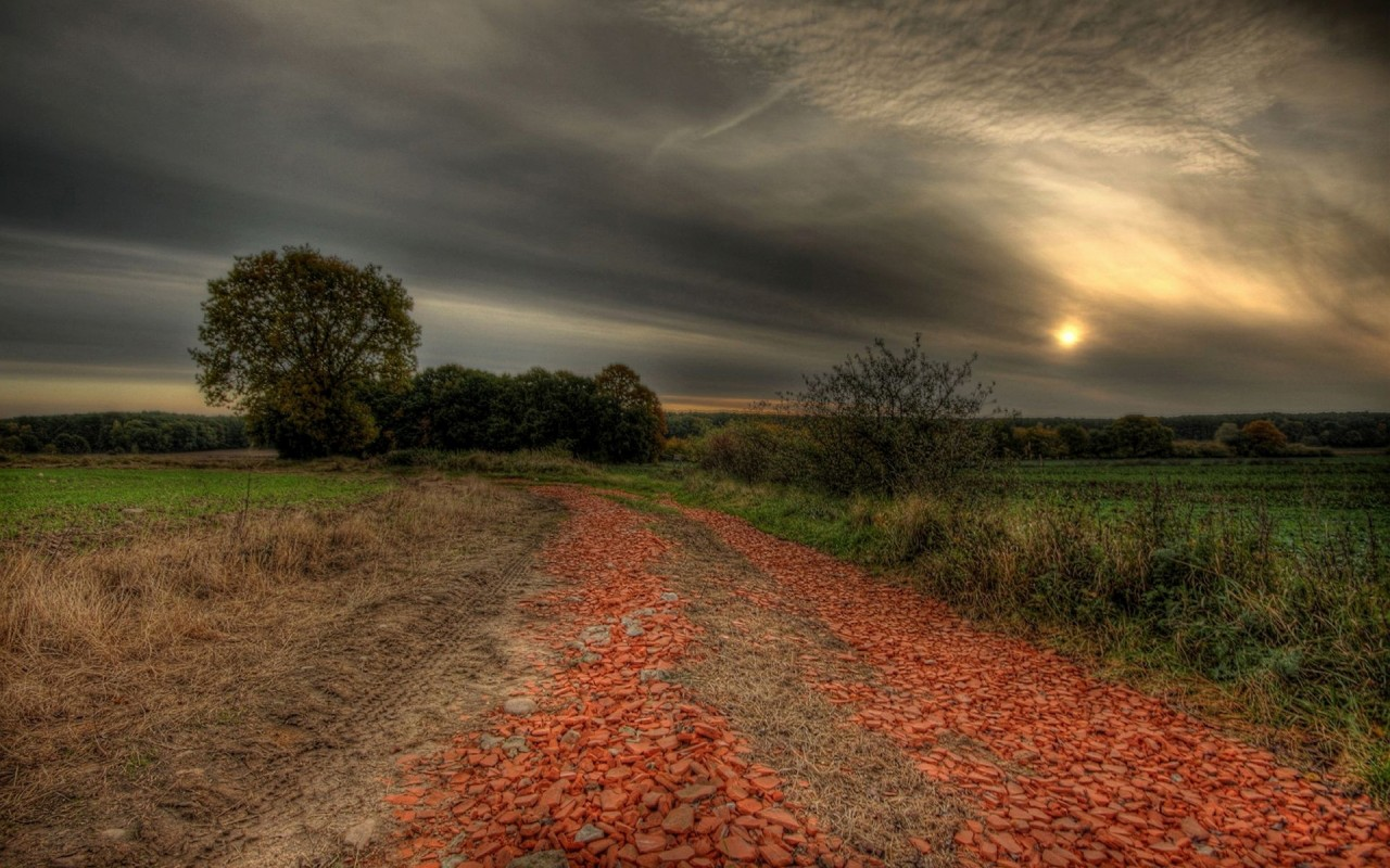 Fall Country Wallpaper Country Road Fields Trees Dusk Wallpapers Country Road