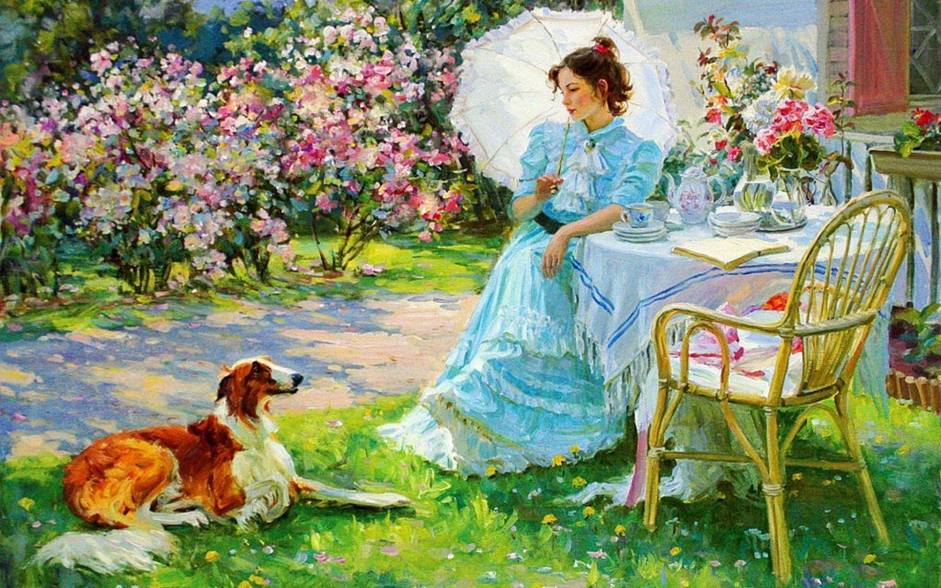 Cute Girl And Boy Animated Wallpaper Woman Dog Garden Coffee Time Wallpapers Woman Dog Garden