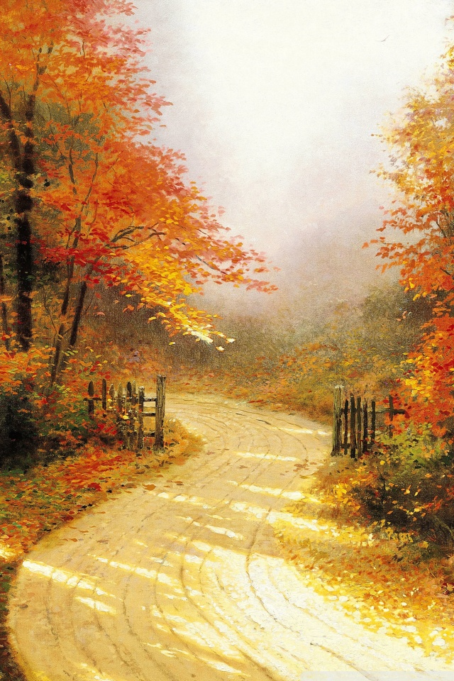 Fall Mobile Wallpapers Autumn Lane By Thomas Kinkade 4k Hd Desktop Wallpaper For