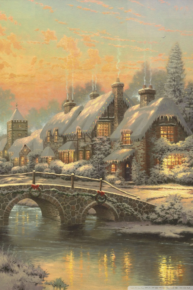 Hd Painting Wallpapers Download Classic Christmas Painting By Thomas Kinkade 4k Hd Desktop