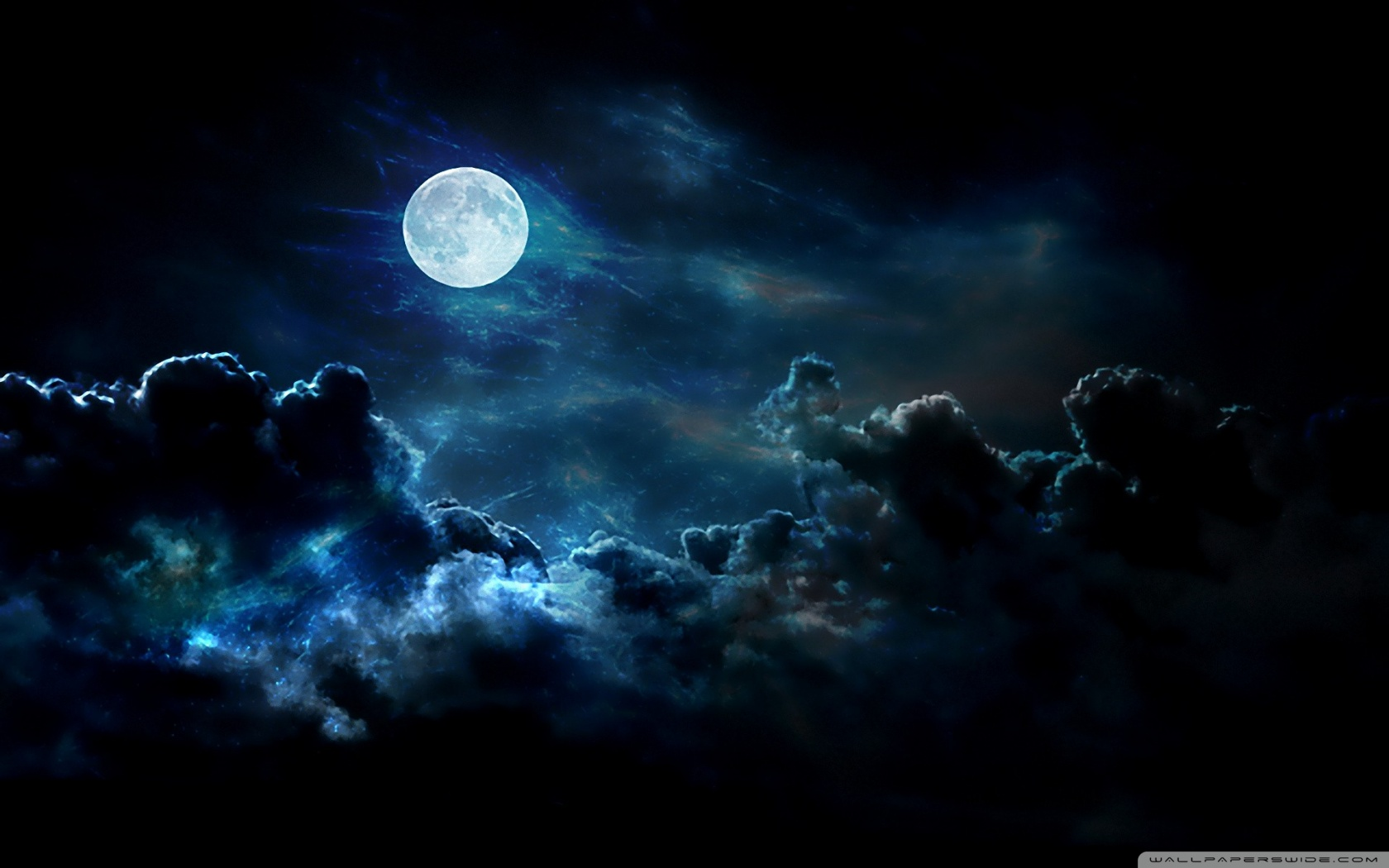 clouds nature night moon