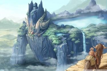 Dragon Castle Fantasy Art Ultra HD Desktop Background Wallpaper for : Multi Display Dual Monitor : Tablet : Smartphone