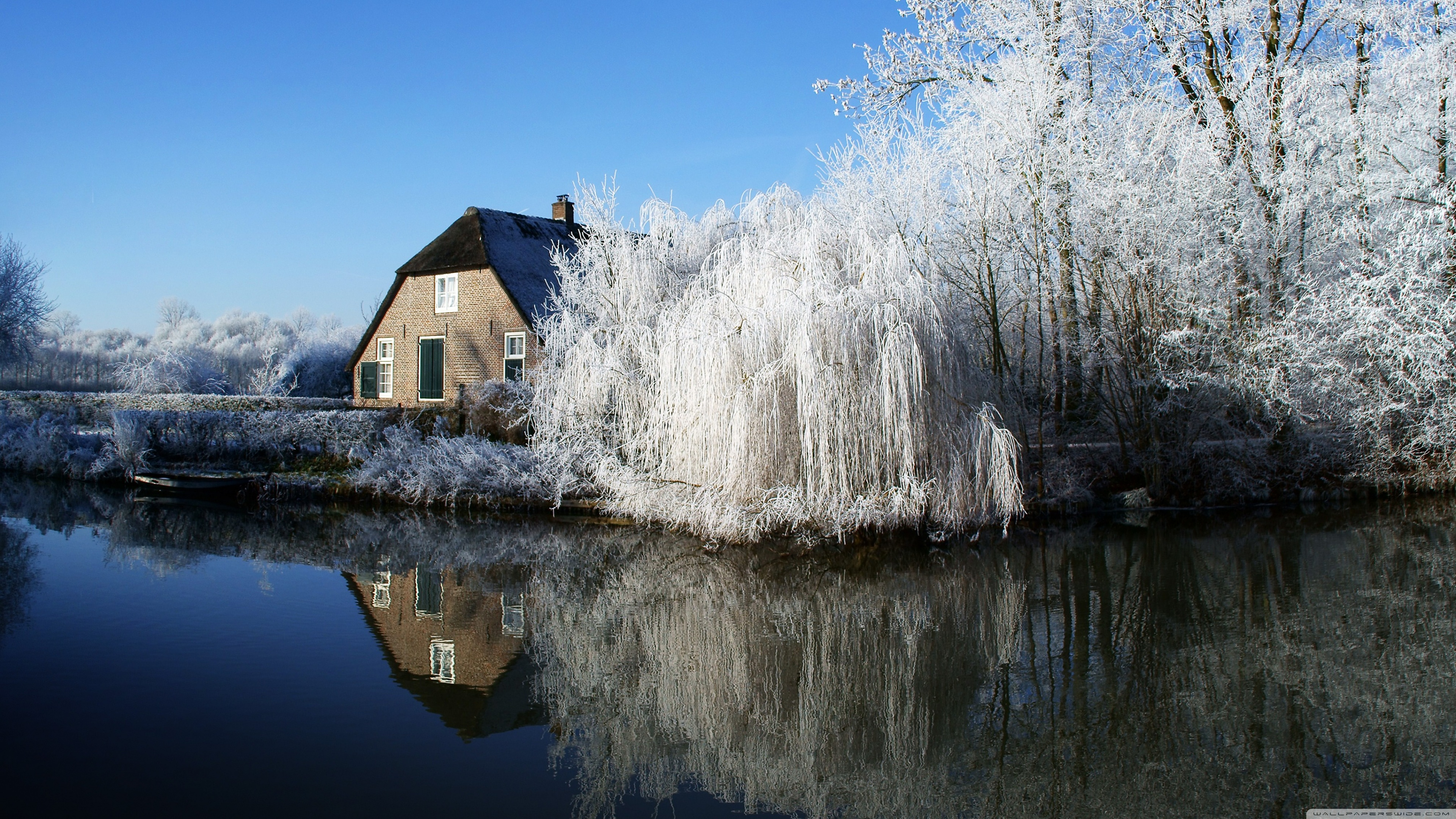 farmhouse and frosty trees wallpapers
