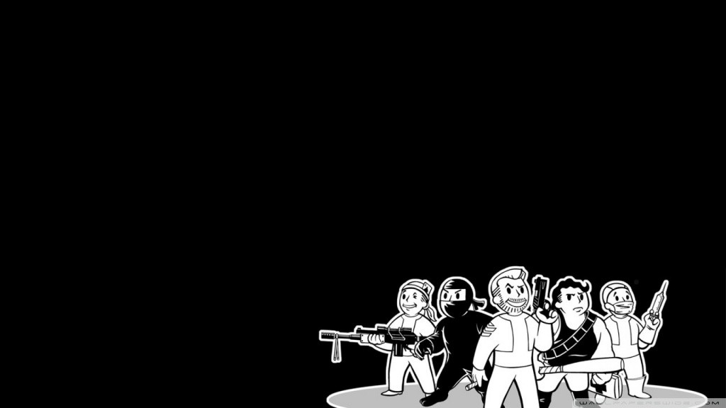 1440p Fall Wallpaper Fo3 Vault Boys Black And White 4k Hd Desktop Wallpaper For
