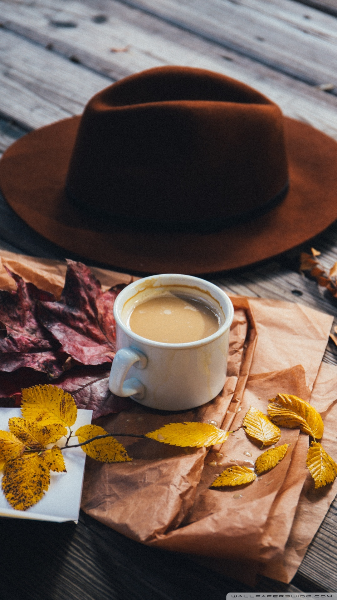 1440x2560 Uhd Wallpaper Fall Man Hat Milk With Coffee Autumn Leaves Outdoor 4k Hd