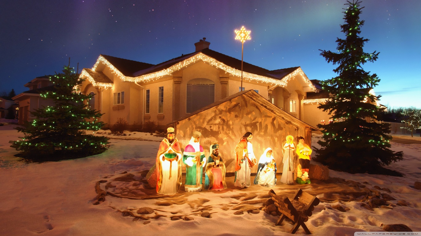 outdoor christmas nativity scene 4k hd desktop wallpaper