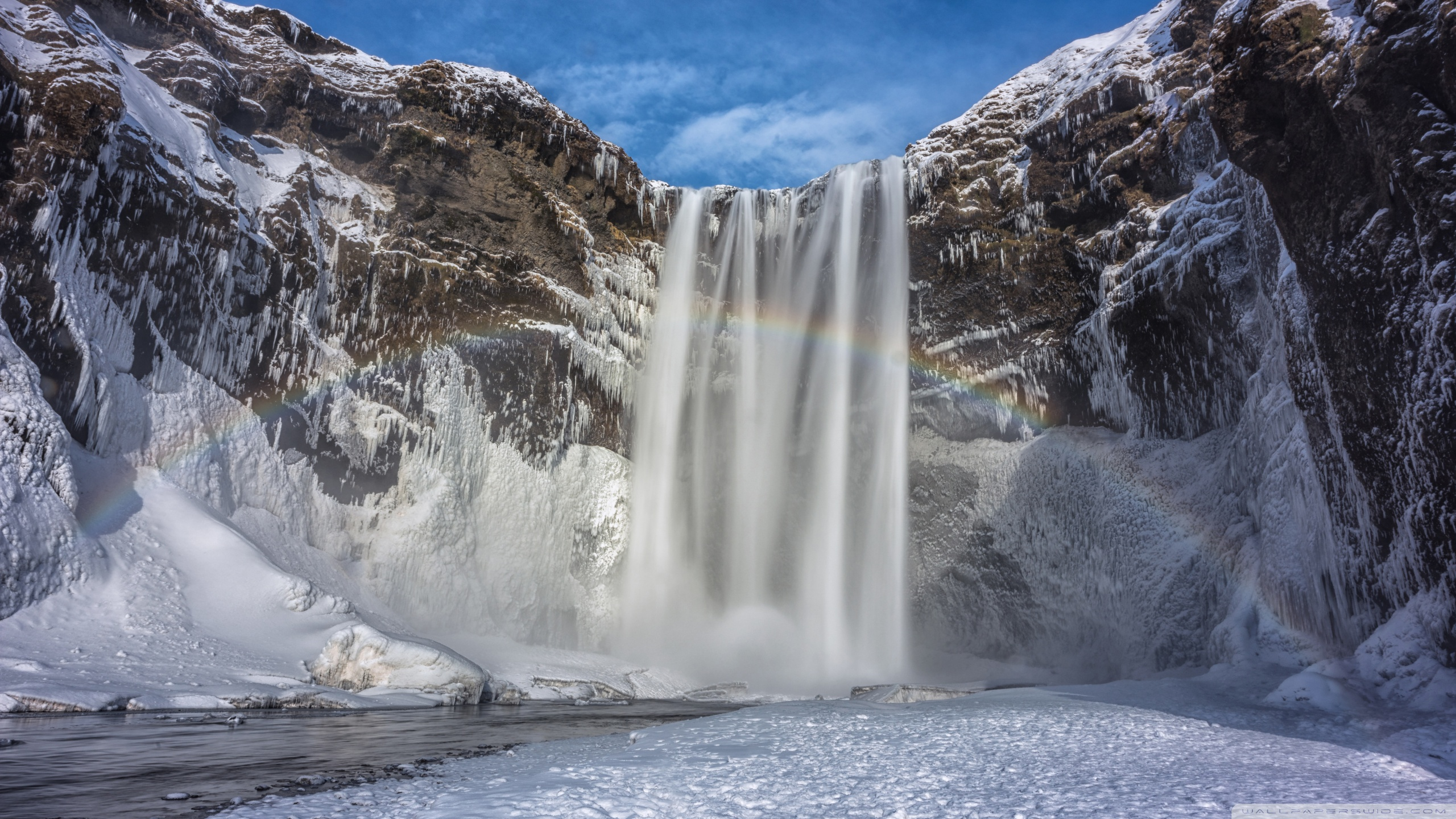 Dual Monitor Wallpaper Fall Rainbow Over The Skogafoss Waterfall Iceland Winter 4k