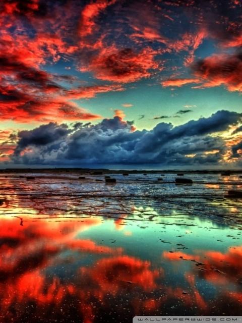 Stunning Fall Wallpapers Red Clouds On Lake 4k Hd Desktop Wallpaper For 4k Ultra Hd
