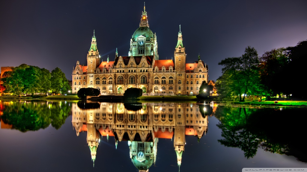 The New City Hall in Hanover, Germany HD desktop wallpaper ...