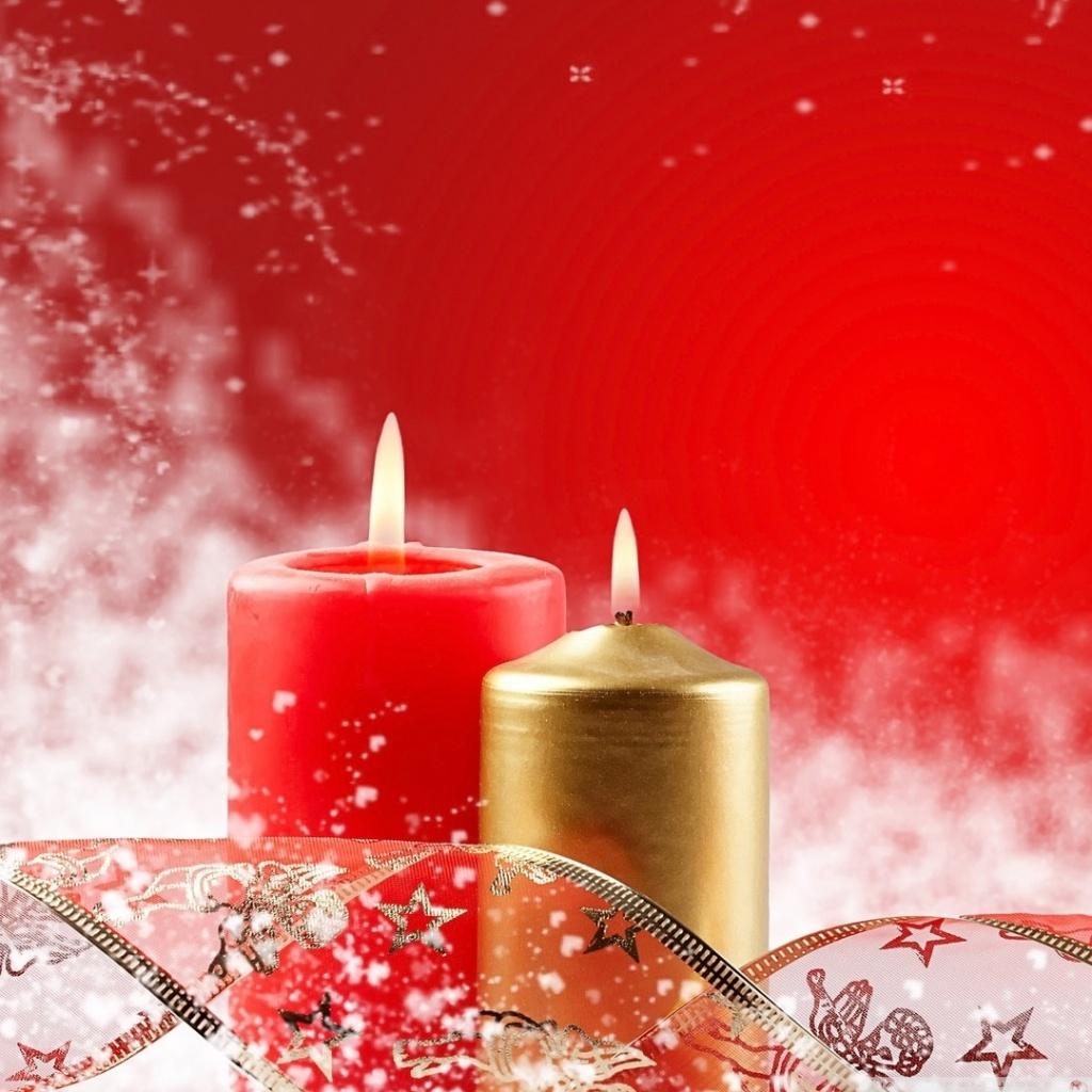 Two Christmas Candles 4K HD Desktop Wallpaper For 4K Ultra