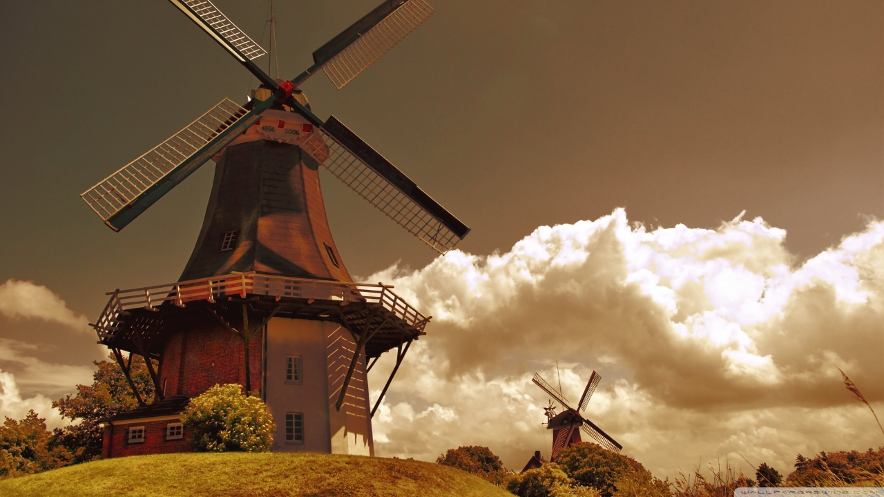 Windmills In The Netherlands HD desktop wallpaper ...