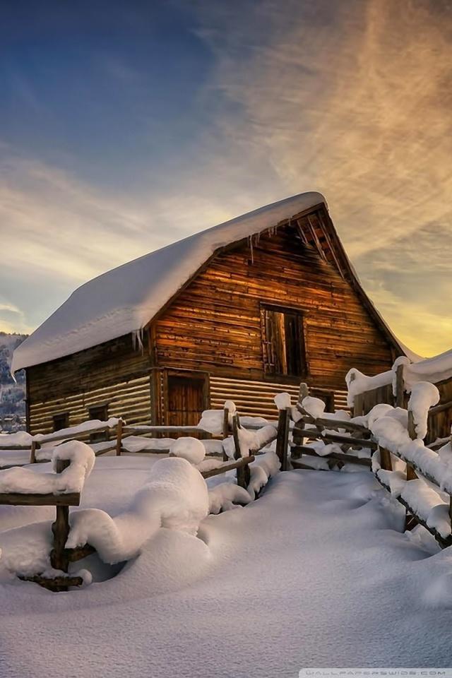 Falling Snow Wallpaper For Ipad Wooden House Under Snow Ultra Hd Desktop Background