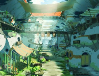 anime landscape background star character ruins konachan oban racers wallpapers hd scenery town backgrounds fantasy desktop iphone laptop wallpapertag animation