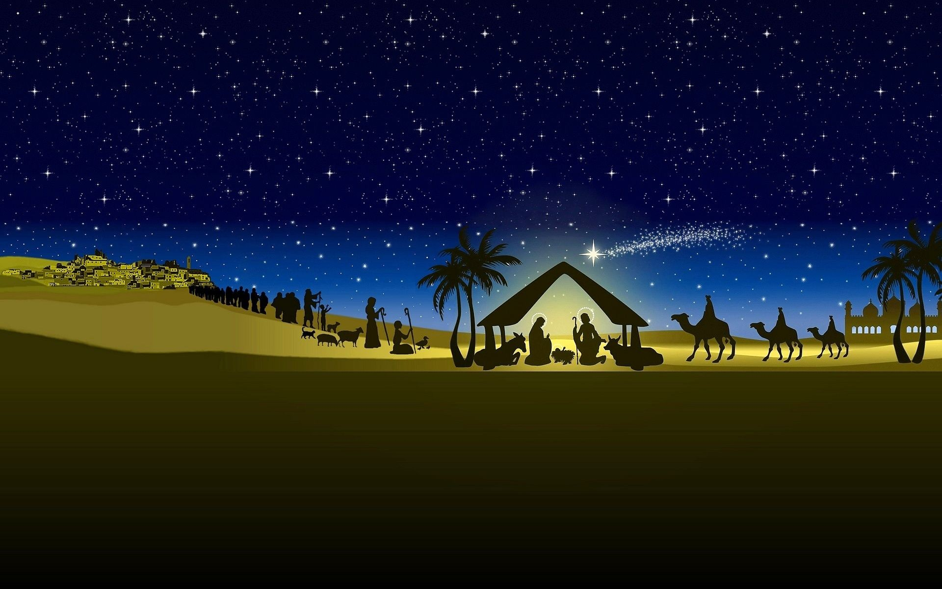 christmas nativity scene hd wallpaper