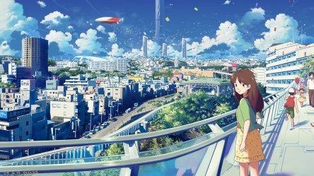 anime scenery background town cityscape wallpapers desktop laptop iphone wallpapertag mobile