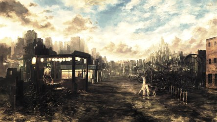 apocalyptic anime wasteland mixtape manga background backgrounds hd ruin fantasy wallpapers dog destroyed 1080 desktop fan apokalipsa zombie drawing wall