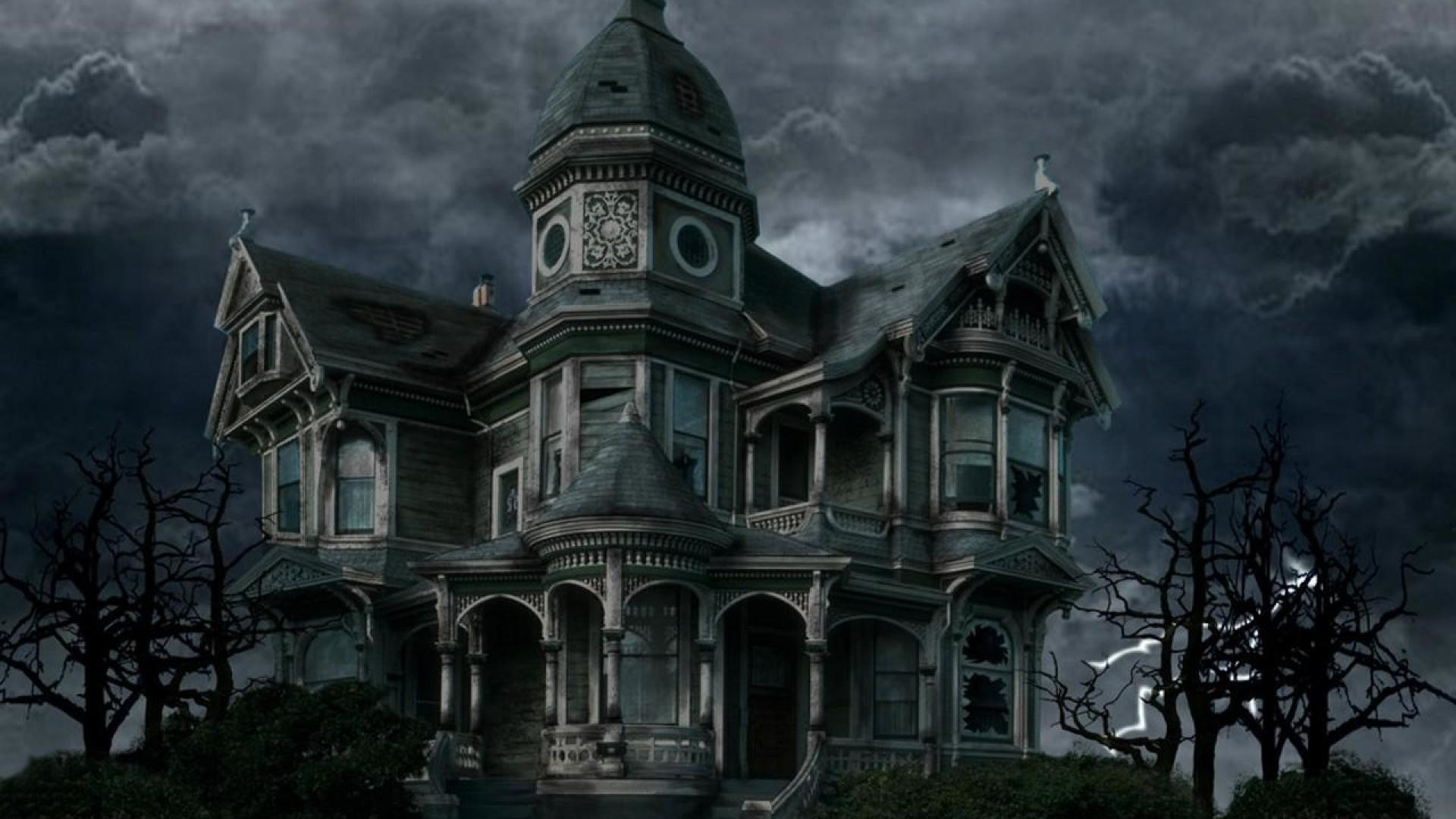 haunted house wallpaper desktop ·①