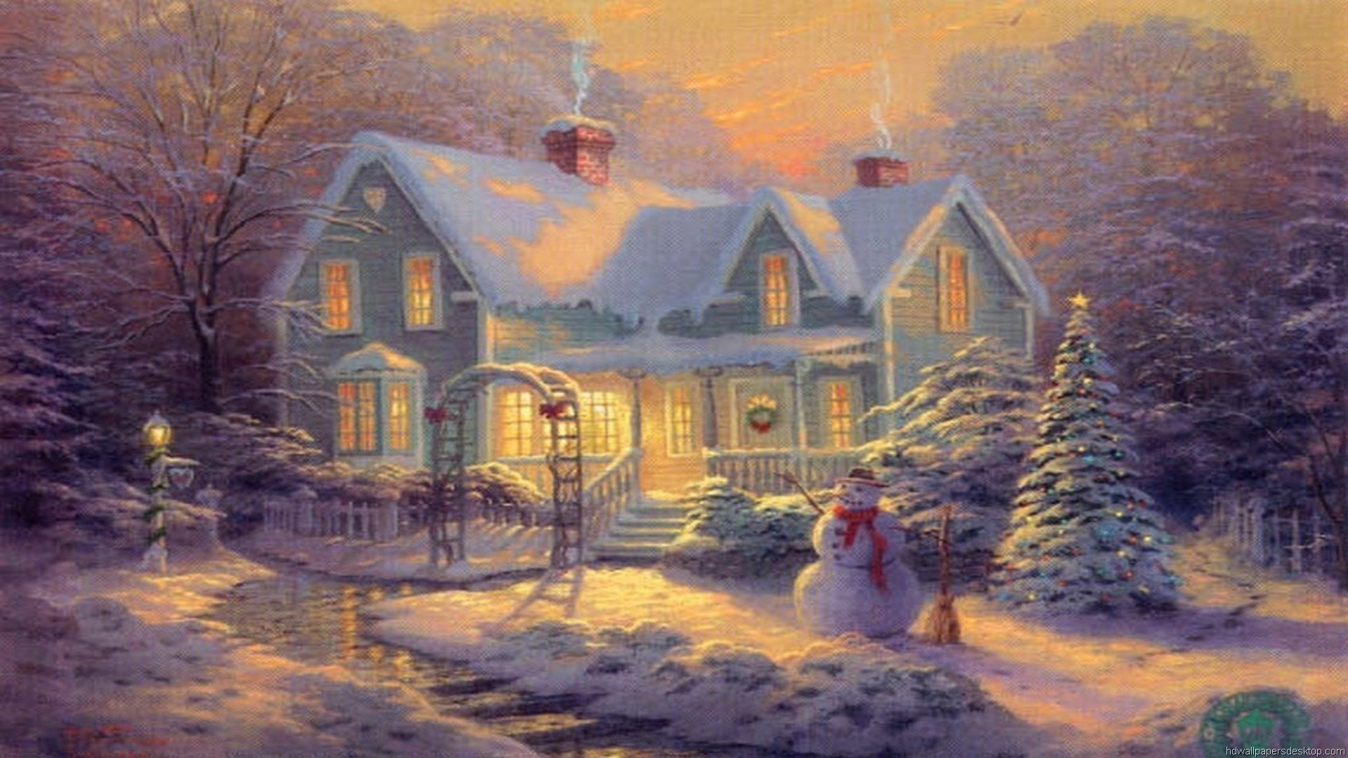 Thomas Kinkade Winter Wallpaper  WallpaperTag