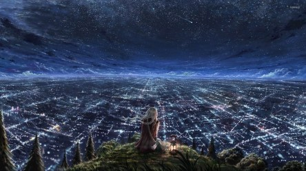 anime night starry background wallpapers desktop hd sky lights computer backgrounds overlooking animation galaxy cool star mobile pc earth planet