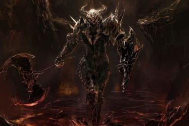 knight fantasy medieval warrior dark death demon artwork hd lava anime darkness wallpapers character computer desktop armor symbols holding staff