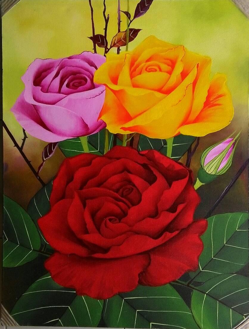 Contoh Gambar Lukisan : contoh, gambar, lukisan, Lukisan, Bunga, Mawar, Warna, Contoh, 836x1106, Download, Wallpaper, WallpaperTip