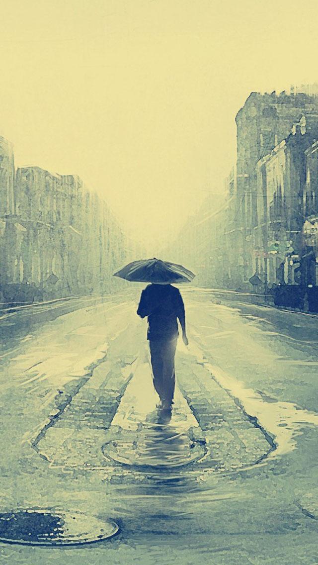 Alone Rain Wallpaper : alone, wallpaper, Lonely, Rainy, Street, Alone, Umbrella, 640x1136, Download, Wallpaper, WallpaperTip