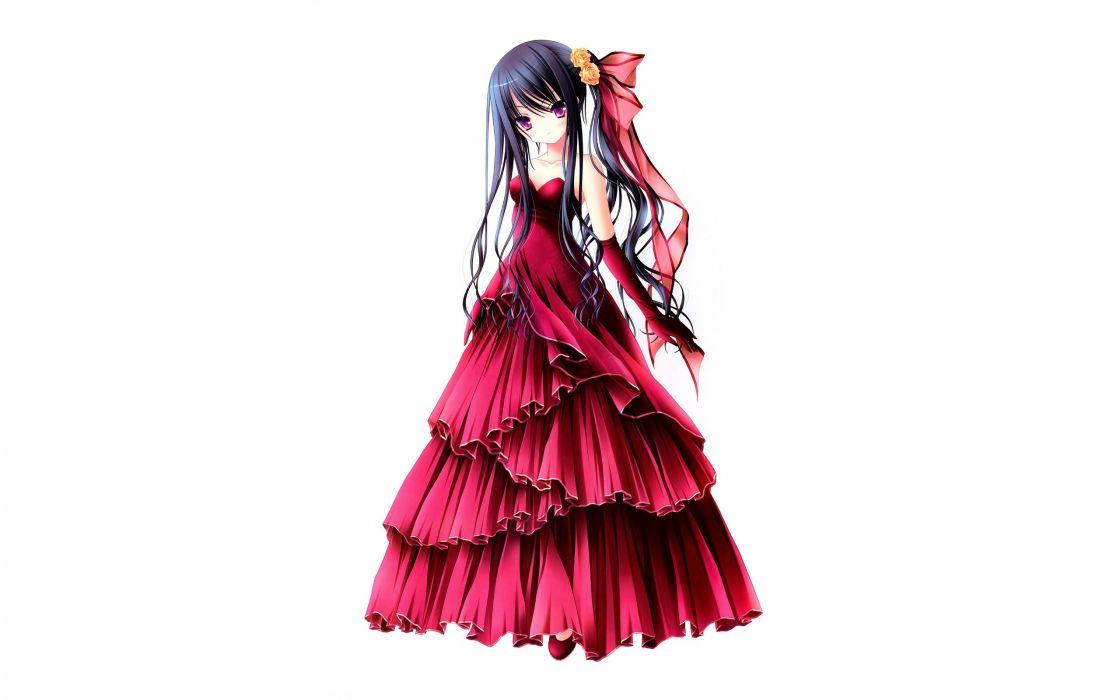 Gloves Dress Flowers Long Hair Blush Artwork Purple Eyes