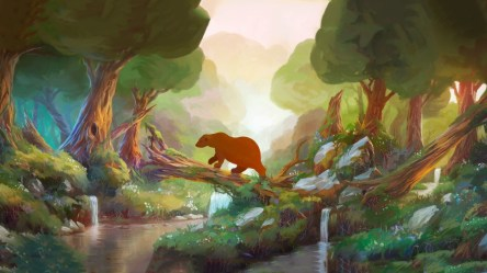 forest cartoon animals nature children fantasy anime waterfall paintings trees stream rivers wallpapers bears sunlight
