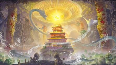 dragon fantasy oriental castle asian wallpaperup wallpapers