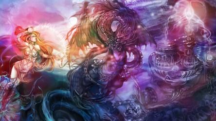 Fantasy art dragon magic women females girls castle dark wallpaper 1920x1080 39986 WallpaperUP