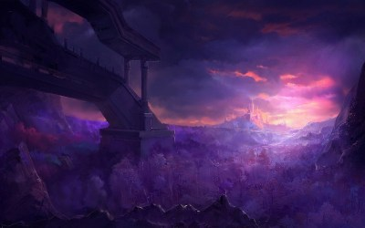 fantasy landscape forest castle mountain sunset painting paintings evening wallpapers jungle backgrounds wallpaperup fantasia salvo