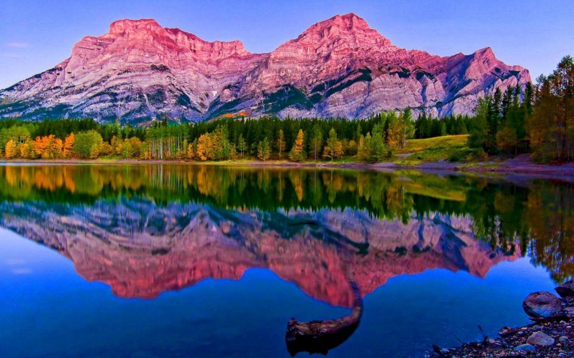 Mountain Nature Landscape Cloud Lake Tree Reflection River