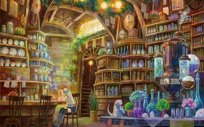 anime fantasy potion interior artwork shelves wallpapers wallpaperup