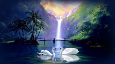 swan waterfall fantasy wallpapers desktop background hd painting nature backgrounds dark screen anime wallpaperup wallpapersin4k px sign log awesome re