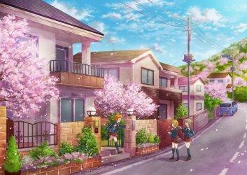 anime sakura morning street wallpapers scenery building scene lovely pretty wallpaperup cherry female desktop