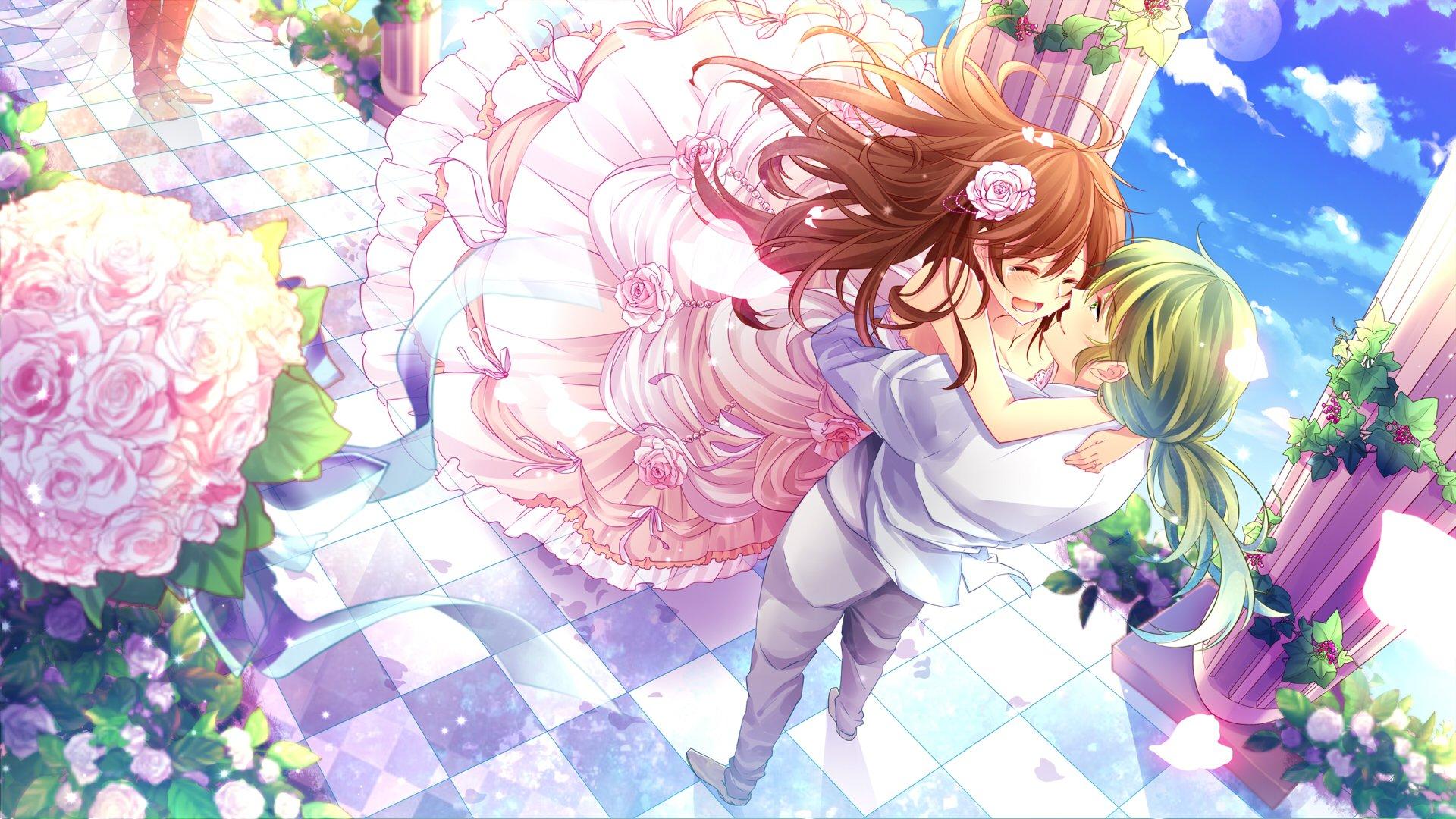 Anime Couple Bride Girl Male Rose Flower Pink Dress Sky